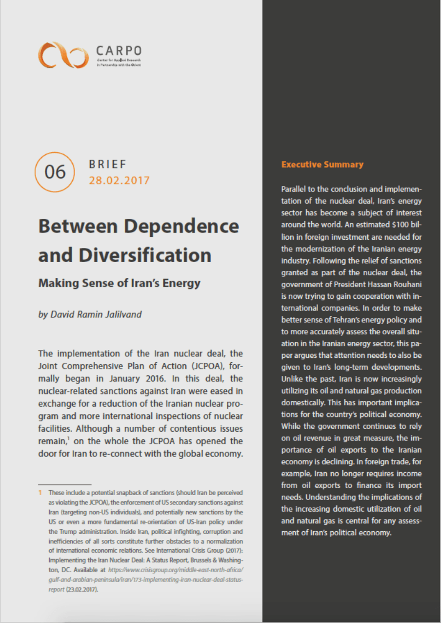 Between Dependence and Diversification. Making Sense of Iran's Energy