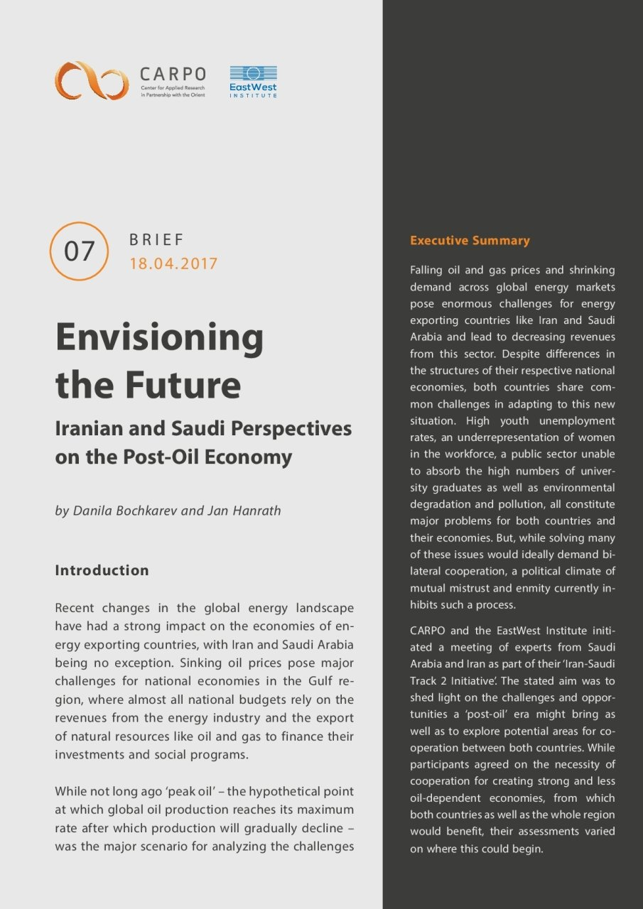 Envisioning the Future: Iranian and Saudi Perspectives on the Post-Oil Economy