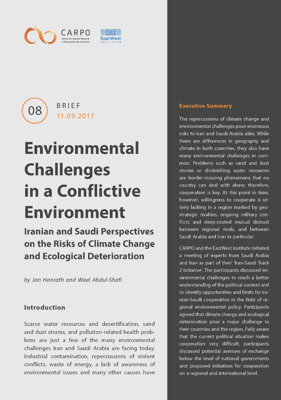 Environmental Challenges in a Conflictive Environment. Iranian and Saudi Perspectives on the Risks of Climate Change and Ecological Deterioration.