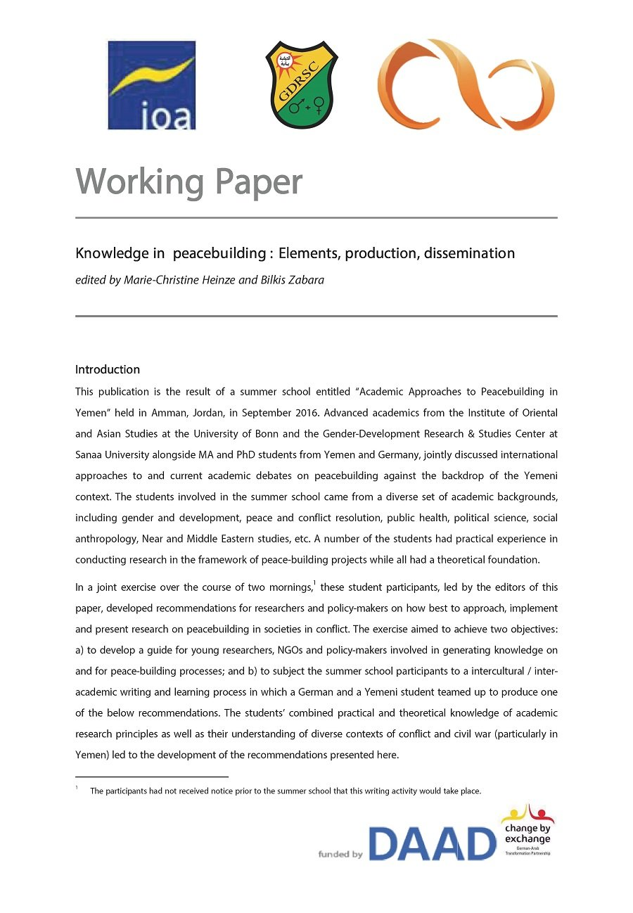 Working Paper: Knowledge in Peacebuilding: Elements, Production, Dissemination