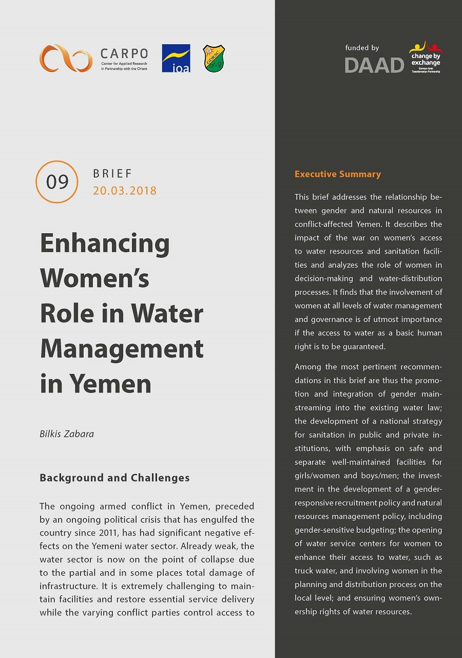 Cover Enhancing Women's Role in Water Management in Yemen