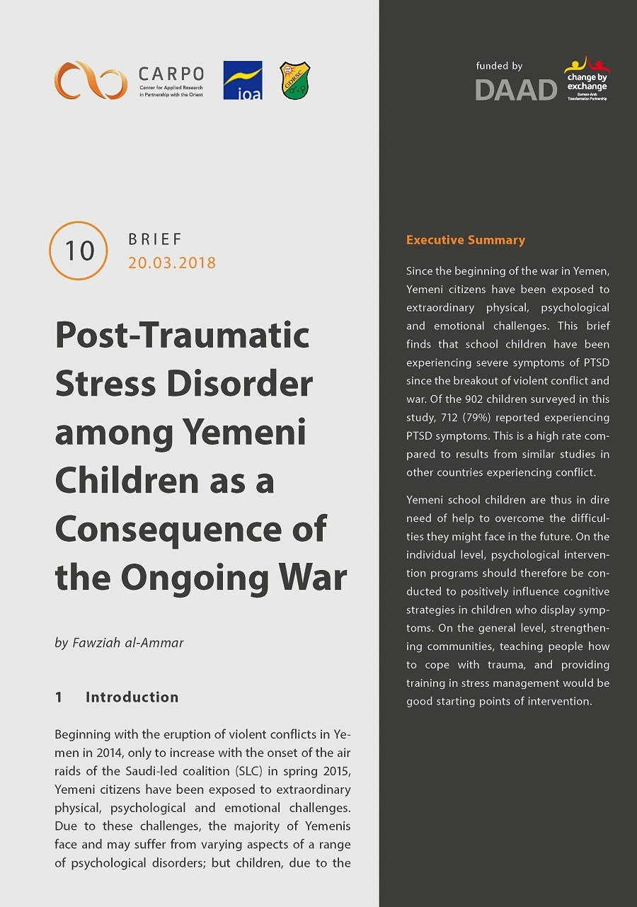 Post-Traumatic Stress Disorder among Yemeni Children as a Consequence of the Ongoing War
