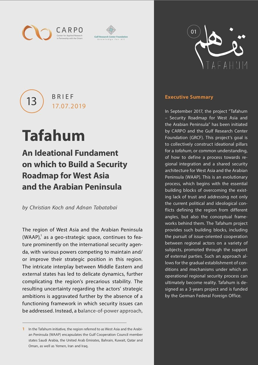 Tafahum – An Ideational Fundament for West Asia and the Arabian Peninsula