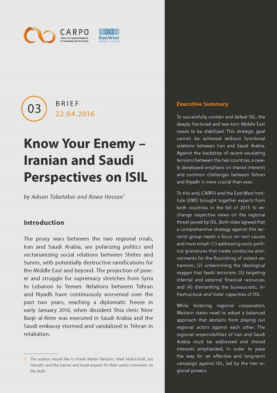 Know Your Enemy. Iranian and Saudi Perspectives on ISIL