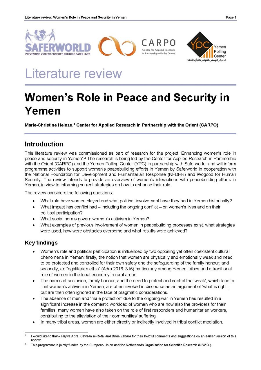 Women's Role in Peace and Security in Yemen. Literature Review