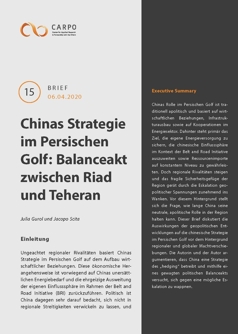 China's Strategy in the Persian Gulf. A Balancing Act between Riyadh and Tehran [in German]