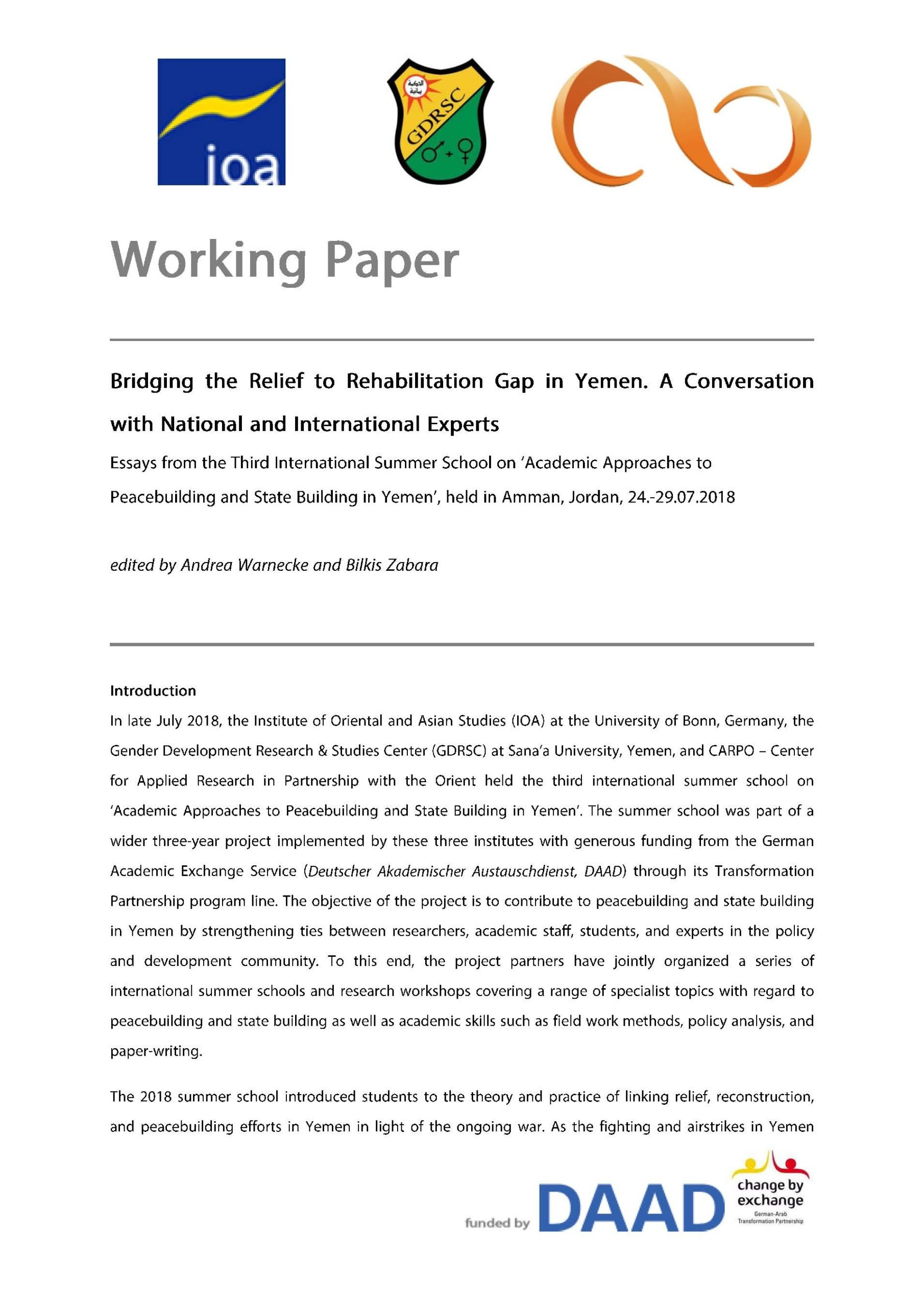 Working Paper: Bridging the Relief to Rehabilitation Gap in Yemen. A Conversation with National and International Experts