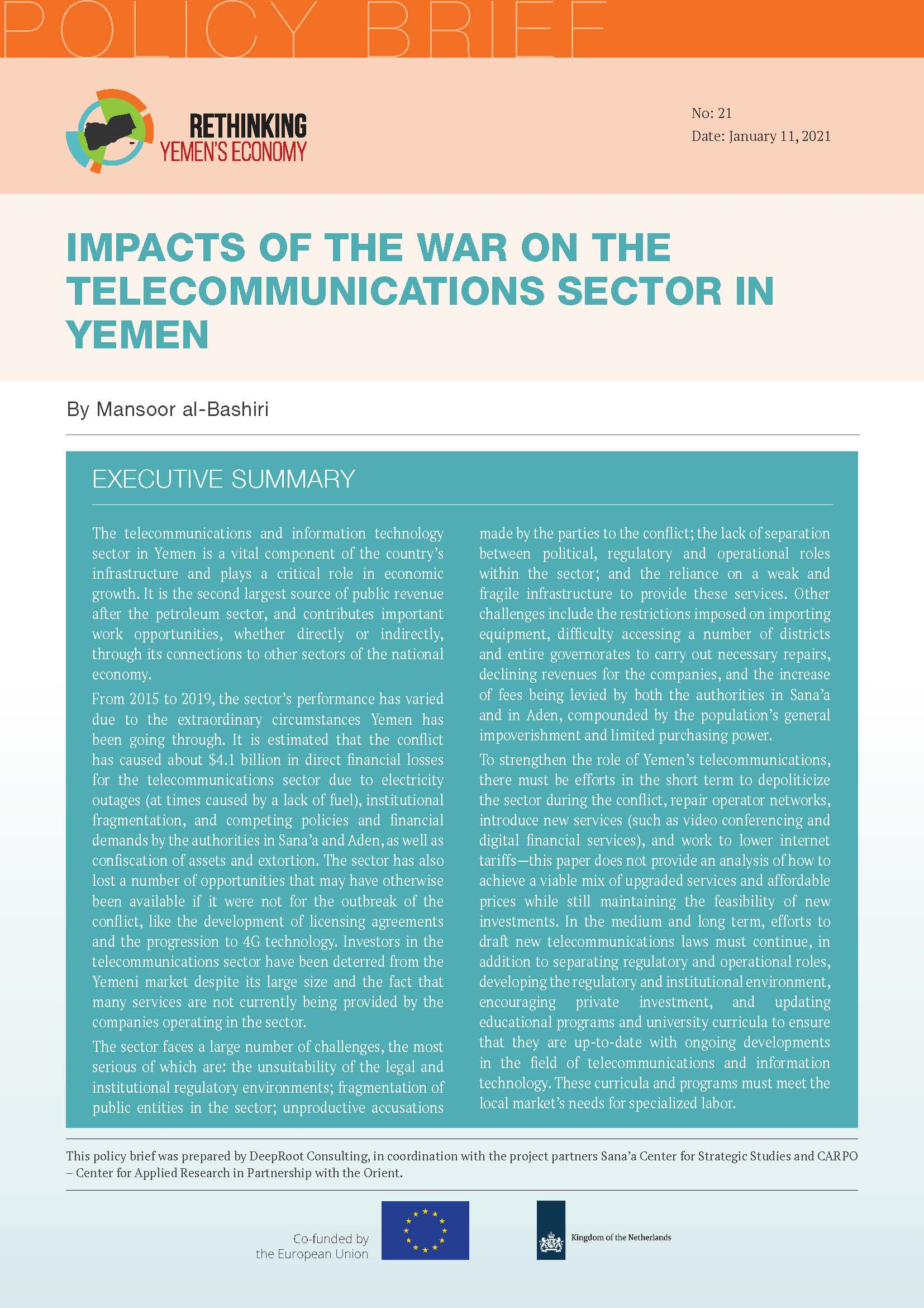 Impacts of the War on the Telecommunications Sector in Yemen