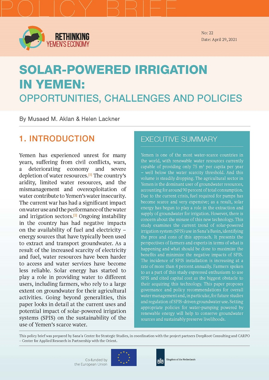 Solar-Powered Irrigation in Yemen: Opportunities, Challenges and Policies